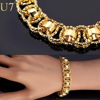 Wholesale Gold Bracelet With quot K quot Stamp Trendy Platinum K Real Gold Plated cm Unique Round Chain Link Bracelets Men Jewelry H489 A5