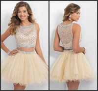 Wholesale 2015 New Champagne Homecoming Dresses Sheer Neck Two Piece Prom Dresses Tulle Beaded Sequins Crystal Mini Backless Party Cocktail Gowns