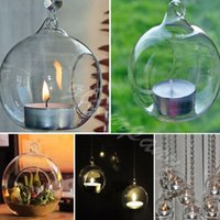 crystal candelabra - 2015 fashion Romantic Crystal Glass Hanging Candle Holder Candlestick Wedding Dinner Decor pieces