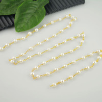 beaded chain findings - DIY Pearl Wire Wrapped Beaded Chain Gold Plated Rosary Style Chain Bead Size mm Finding