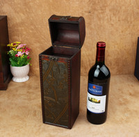 Wholesale Vintage Red Wine Boxes Single Wine Package Boxes Wooden Wine Box For One Bottle Creative Gift Boxes cm cm cm