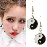 Wholesale Fashion Jewelry Long Silver Plated Round Emamel Yinyang Drop Earrings For Women Brincos Longos New Coming