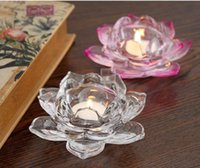 Wholesale Crystal Lotus Candle Holders Home Decor for Weddings Decoration Votive Candle Holders For Home Bar