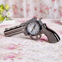 Wholesale 1 pc Novelty Pistol Gun Shape Alarm Clock Desk Table Home Office Decor Gifts ZH629 H018