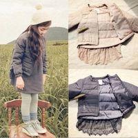 100% cotton jackets - Girls Winter Cotton Lace Jackets Kids Girl Zipper Princess NEW Outwears Baby Girl Korean Style Tops babies children clothing
