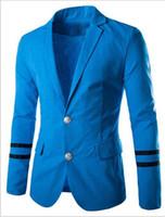 Wholesale fashion suit long sleeve outerwear men biazers stripe clother casual tops colors blazers men suit vests hot sall coat