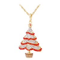 ac necklace - Slide Pendant Necklace Europe America Style Diamond Christmas Tree Creative Personality Necklace cm Christmas Gift Sweater Decoration Ac