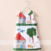 animations words - Hot Sale European and American Style Animation Word Graffiti Princess Cotton Vest Dress