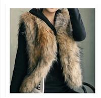 Wholesale Women Faux Fur Sleeveless Vest Faux Fox Fur Coat Outwear Jacket Waistcoat Tops Plus Size