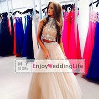 RHINESTONE - Two Pieces New Sexy Champagne High Neck Tulle Prom Dresses Rhinestones Beaded Top Floor Length Evening Gowns