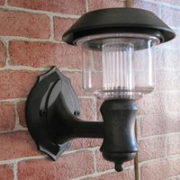 Cheap Wholesale Clear Energy Solar Power Wall Light Fence panel LED Lamp Outdoor Lighting Lobby Pathway Garden Light Black free shipping