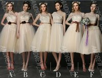 Wholesale 2015 Summer Chiffon A Line Flower Applique Lace Soft And Elegant Banquet Dress Party Dress Bridesmaid Dresses