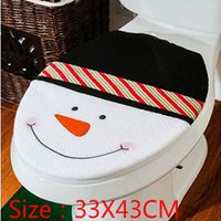 Cheap Wholesale-Wholesale Snowman Toilet Seat Cover Bathroom ornaments christmas products supplies decoration items enfeites de natal papai noel