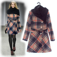 designer wool scarves - New Designer Women Colorful Plaid Coat Elegnat Sheath Long Sleeve Wool coat with scarf