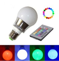 Wholesale Shipping Indoor the new E27 W RGB Big Ball LED Bulb Lamp Key Color Remote Control V V Memory Function