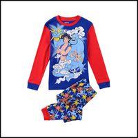 aladdin pants - Prettybaby kids boys girls long sleeve cartoon pajamas baby olaf darth vader Aladdin mickey Xams shirts pants set suits Pt0063 Large