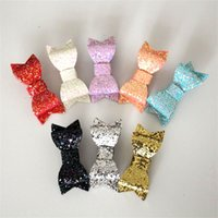 Barrettes artificial leather Solid New Arrival 2015 Modish Girls 20pcs lot Hair Clip Bows 2015 Bestseller Glitter Felt Hair Clips Baby 7Colors Barrettes Modern Girls Hairpins