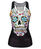 al por mayor esqueletos de chica-Sexy Cool Punk Girl Digital Impresión Floral Sugar Cráneo Esqueleto Devil Queen Slim Tank Tops Adventure Time Camisole camiseta sin mangas 3D Vest