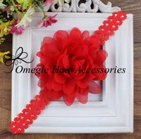 lace headbands - 3inch Chiffon Flowers With Lace Headbands For Baby Girls Kids Hair Accessoires