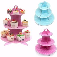 Baking Cups paper plate holders - 3 Tier Cardboard Cupcake Paper Stand Plates Wedding Birthday Party Muffin Pink Blue Color Cake Holder Lunch Tea Time