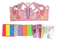Wholesale 1PC Create your own birthday party crown Birthday craft kits Girl toys Mosaic art Early educational toys Kids toy x14cm