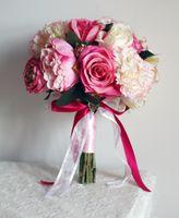 Wholesale Bridal Bouquets Purple hydrangea rose red peony Phalaenopsis Handmade Artifical Bridal Bouquet flowers Wedding Favors Dropship