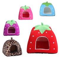 Wholesale Cute Pet Dog Cat Soft Bed Nest Puppy Warm Housel Pet Lovely Strawberry Cushion Mat Beds