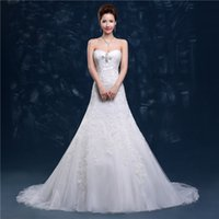 ladies dress fabric - Sweetheart Neck Pretty Wedding Dresses Back Zipper A Line Dresses for Ladies Tulle Fabric Unique Wedding Gowns Strapless