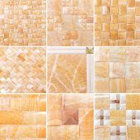 beige stone tiles - Rosin jade stone mosaic TV backdrop living room entrance background natural marble beige jade tile