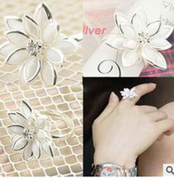 american herb - New Fashion Han Edition Flower Pure Fresh Snow Lotus Herb Ring Jewelry XY R124 R125 mm size EH276