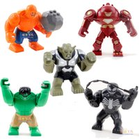 Wholesale 2014 New High Quality Super Hero Big Size cm Mini figure Venom Hulk Buster Green Goblin set building blocks toy Gift