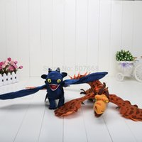 achat en gros de édentée en peluche-Gros-2pcs / lot 40cm Comment dresser votre dragon cauchemar Toothless Nuit Fury Firedragon peluche en peluche Poupées