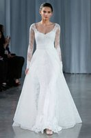 Wholesale 2015 New Fashionable Lace Vintage Runway Fashion Wedding Dresses with Long Sleeve Designer Chinese Bridal Gown vestidos de noiva