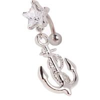 anchor barbell - Trendy Star Zircon Star Rhinestone Anchor Dangle Barbell Belly Navel Ring Bar Piercing belly