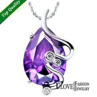 Cheap Purple Water Necklaces Best Drop Crystal 925