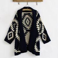 batwing cardigan pattern - 2016 Women s Fashion Sweater Roman Geometric Patterns In A Long Sweater Coat Loose Knit Shawl Cardigan Sweater M