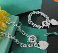 Wholesale New Arrival hot Silver jewelry silver Heart charm pendant necklace bracelet jewelry set