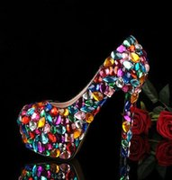 Wholesale Brand New fashion Candy color Bridal wedding shoes crystal diamond cm cm sexy high heels Women Pumps plus size