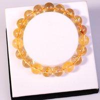 achat en gros de gros bijoux en pierre chunky-Mode gros bijoux naturels citrine 10MM Perles rondes en pierre semi-précieuse Cristal Chunky bracelets rouges bracelets pour les femmes aiment cadeau