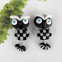 Wholesale 2015 Fashion Summer Style Handmade Polymer Black Owl Stud Earring For Women Fine Jewelry