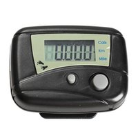 Wholesale 1pcs Black Digital LCD Run Step Run Pedometer Walking Calorie Counter Distance Clip on H1E1