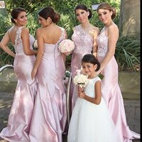 Cheap 2016 New Cheap Mermaid Long Bridesmaid Dresses Maid of Honor Dresses with One-Shoulder Pleated Long Formal Evening Gowns Plus Size