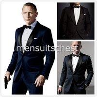 dress suit for men - Stars dress Custom Made Dark Blue Tuxedo Inspired By Suit Worn In James Bond Wedding Suit For Men Groom Jacket Pants Bow black terno noivo