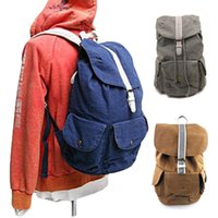 Wholesale S5Q Men Casual Canvas Backpack Outdoor Shoulder Bag Retro Hiking Travel Rucksack AAADVF
