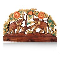 Wholesale Southeast Asia racks carvings wood trim color double as wall decoration hanging hat rack upscale wall shelf