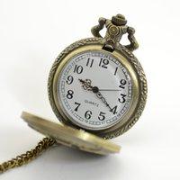 Wholesale Vine Bronze Engraved Men Pocket Watch Antique Men Quartz Watch with Pendant Chain Christmas Father s Day Gift J0685
