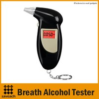 Wholesale New Backlit Display Digital LCD Breathalyzer Audible Alert Breath Key Chain Portable Alcohol Tester With retail box