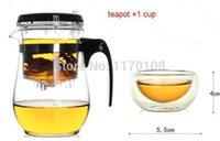 Wholesale Hot sale heat resistant glass tea set tea cup ml teapot coffee filter tea pot J08050063 Free Shpping DHL EMS