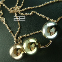 9ct gold - 9K CT Rose White Yellow Gold Filled Lucky Beads Necklace N132