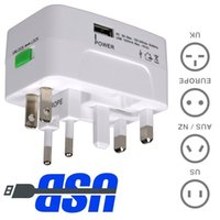 Wholesale 1 USB Charging Port A Surge Protector All in One Universal Worldwide Travel Wall Charger AC Power Plug Adaptor